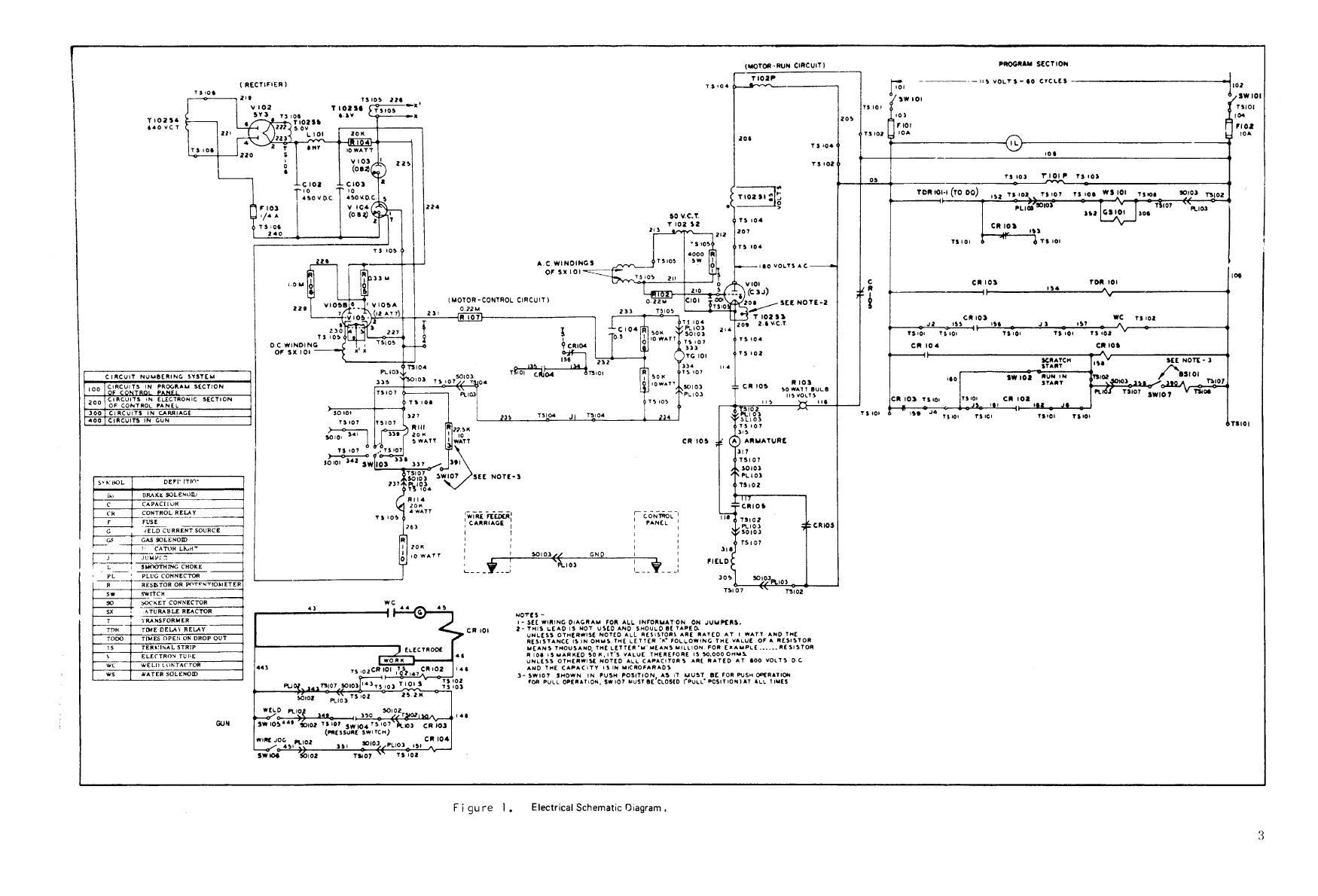 Figure 1 Electrical Schematic Diagram Welding Circuit Tm 5 3431 226 15 Set Arc Inert Gas Shielded Water Cooled Aluminum General Purpose Airco Model 2351 1209 Fsn 731 4163 Manual